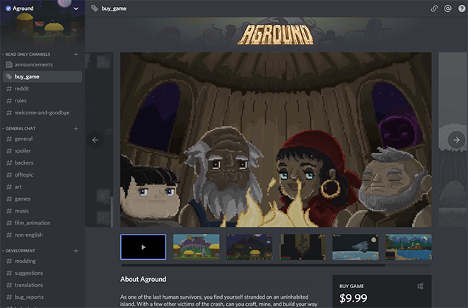 Aground is now available on the Discord store! — Fancy Fish